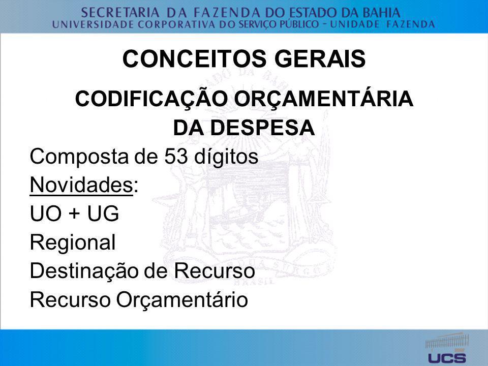 CONCEITOS GERAIS CODIFICAÇÃO ORÇAMENTÁRIA DA DESPESA Composta de 53 dígitos Novidades: UO + UG Regional Destinação de Recurso Recurso Orçamentário