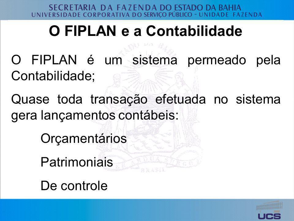 O FIPLAN e a Contabilidade O FIPLAN é um sistema permeado pela Contabilidade; Quase toda transação efetuada no sistema gera lançamentos contábeis: Orç