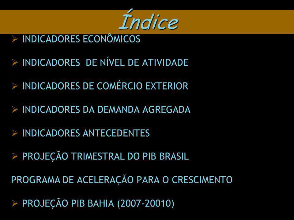 Índice INDICADORES ECONÔMICOS INDICADORES DE NÍVEL DE ATIVIDADE INDICADORES DE COMÉRCIO EXTERIOR INDICADORES DA DEMANDA AGREGADA INDICADORES ANTECEDENTES PROJEÇÃO TRIMESTRAL DO PIB BRASIL PROGRAMA DE ACELERAÇÃO PARA O CRESCIMENTO PROJEÇÃO PIB BAHIA (2007-20010)