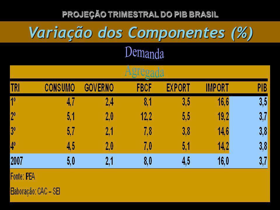Variação dos Componentes (%) PROJEÇÃO TRIMESTRAL DO PIB BRASIL