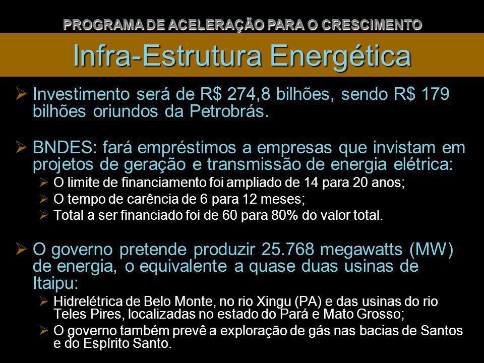 Infra-Estrutura Energética Investimento será de R$ 274,8 bilhões, sendo R$ 179 bilhões oriundos da Petrobrás.