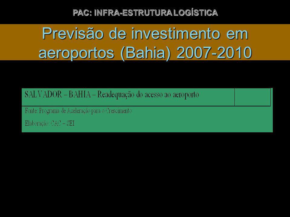 Previsão de investimento em aeroportos (Bahia) 2007-2010 PAC: INFRA-ESTRUTURA LOGÍSTICA