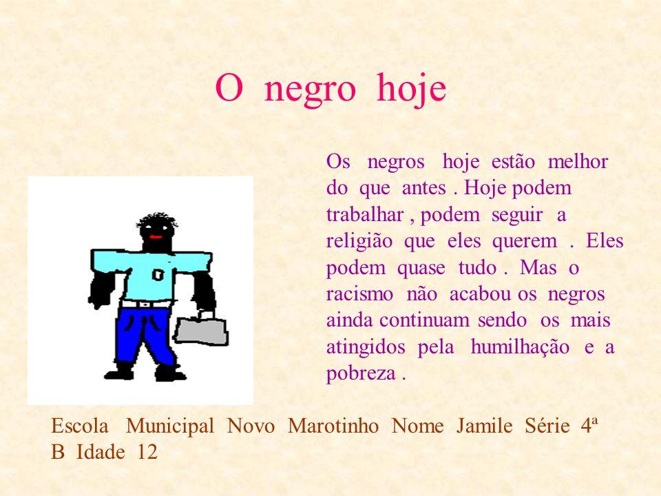 O negro ontem Escola municipal Novo Marotinho Nome Jamile Série 4ª Idade 12 Os negros eram trazidos da África em navios negreiros. Os negros por qualq