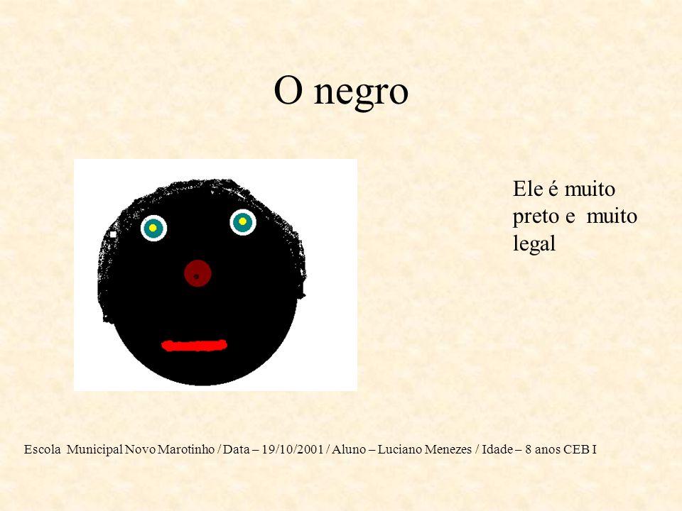 Este será o Negro de amanhã O Negro de amanhã será um cidadão como qualquer outro ser humano com todos os direitos iguais. Escola Municipal Novo Marot