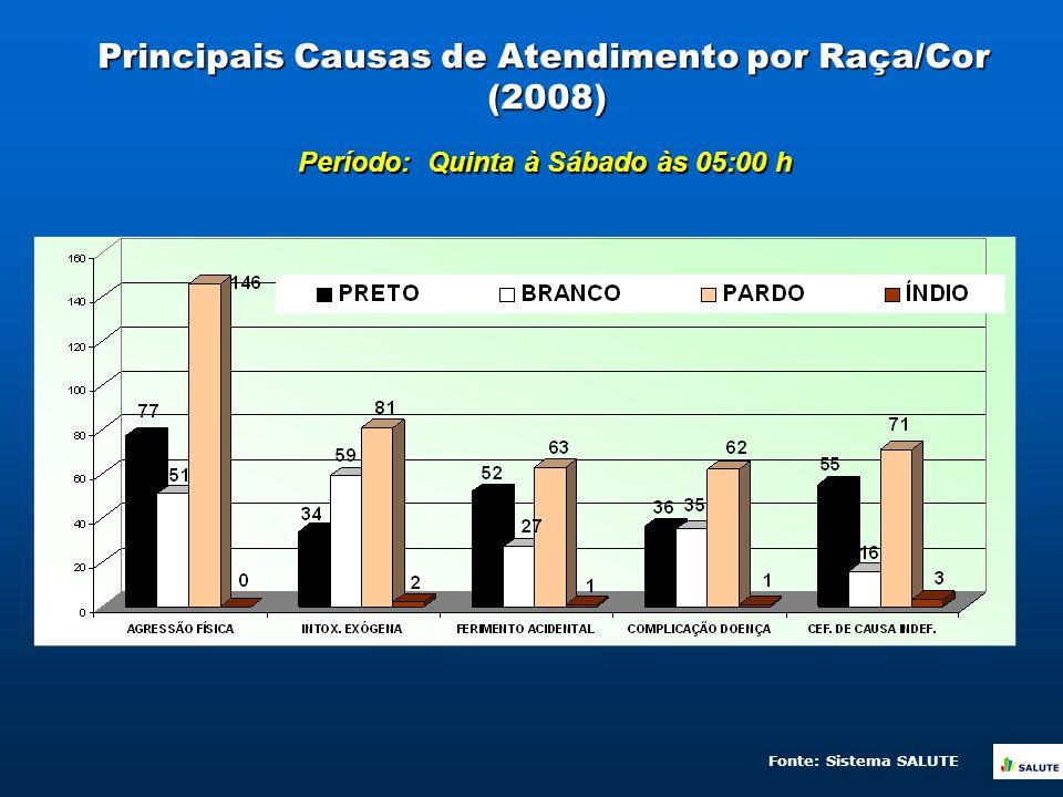 Principais Causas de Atendimento por Raça/Cor (2008) Período: Quinta à Sábado às 05:00 h Fonte: Sistema SALUTE