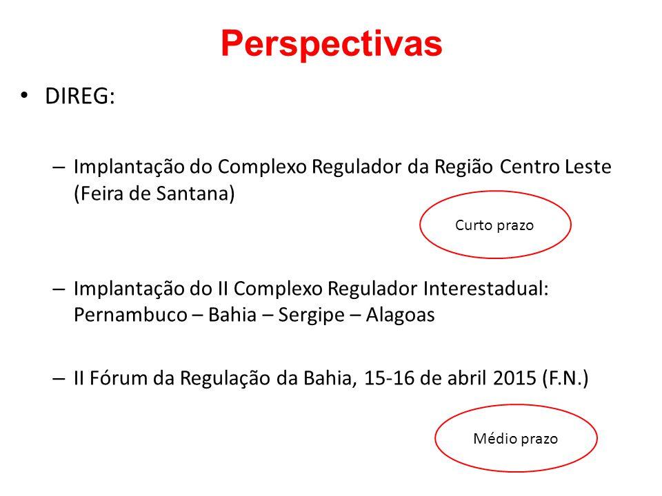 Perspectivas DIREG: – Implantação do Complexo Regulador da Região Centro Leste (Feira de Santana) – Implantação do II Complexo Regulador Interestadual
