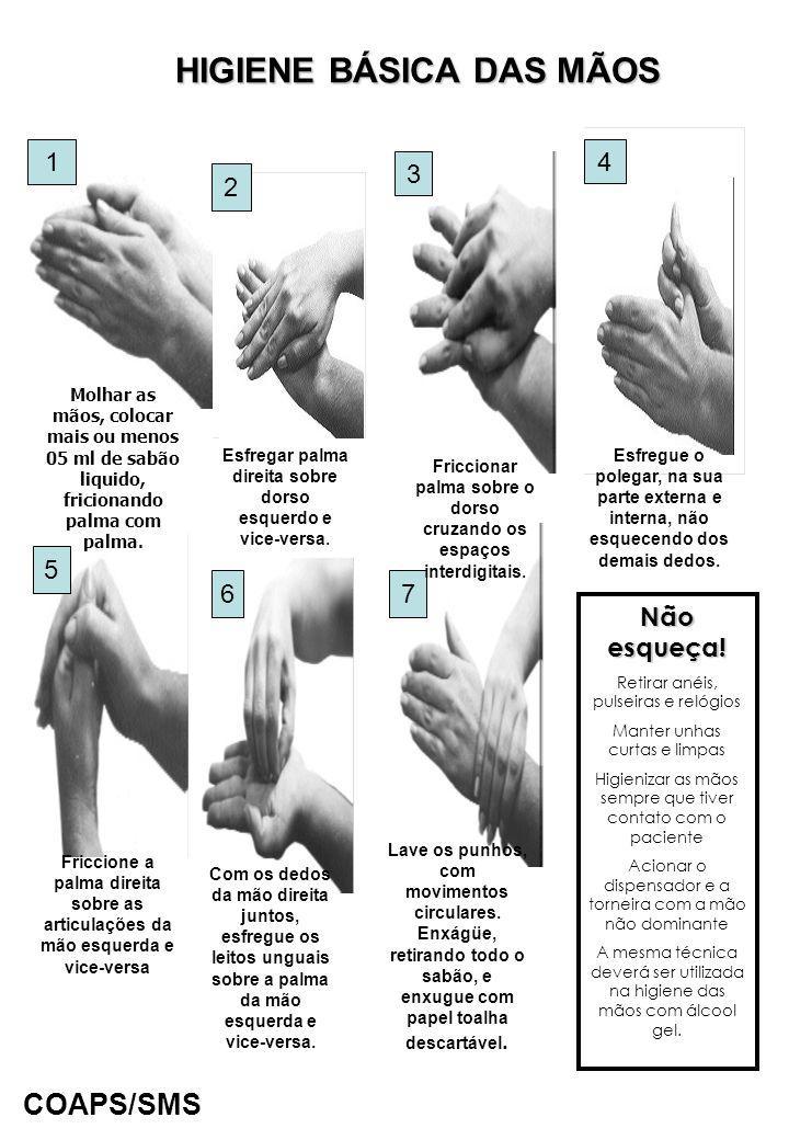 HIGIENE BÁSICA DAS MÃOS 1 2 3 4 5 6 7 Molhar as mãos, colocar mais ou menos 05 ml de sabão liquido, fricionando palma com palma. Friccione a palma dir