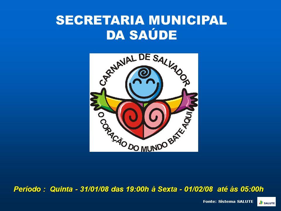 Período : Quinta - 31/01/08 das 19:00h à Sexta - 01/02/08 até às 05:00h SECRETARIA MUNICIPAL DA SAÚDE Fonte: Sistema SALUTE