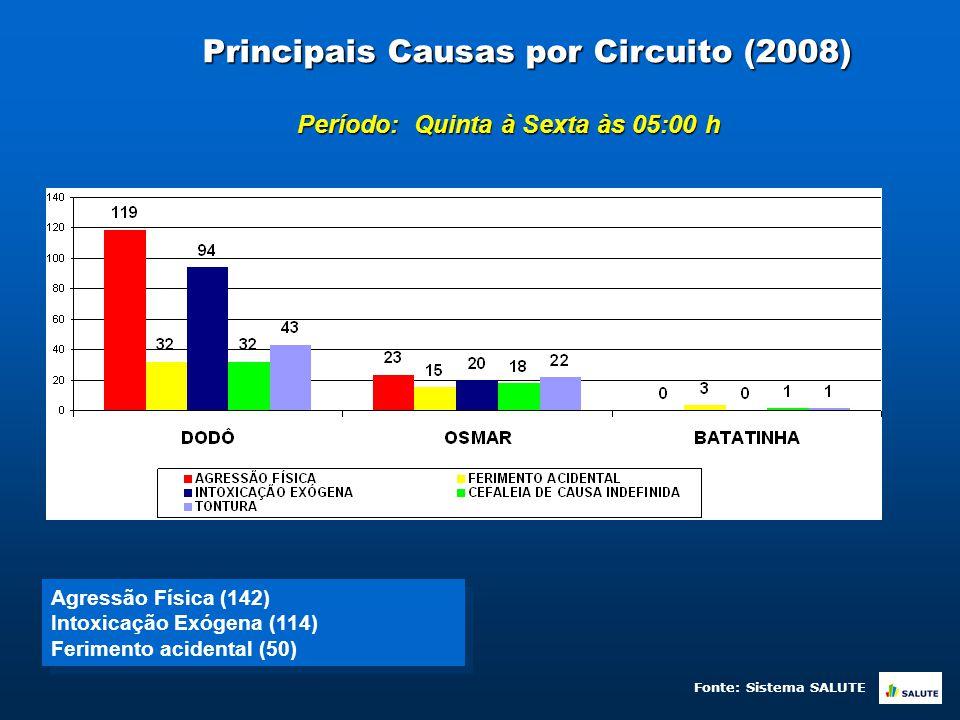 Principais Causas de Atendimento por Raça/Cor (2008) Período: Quinta à Sexta às 05:00 h Fonte: Sistema SALUTE