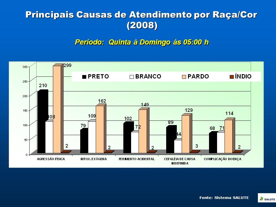 Principais Causas de Atendimento por Raça/Cor (2008) Período: Quinta à Domingo às 05:00 h Fonte: Sistema SALUTE