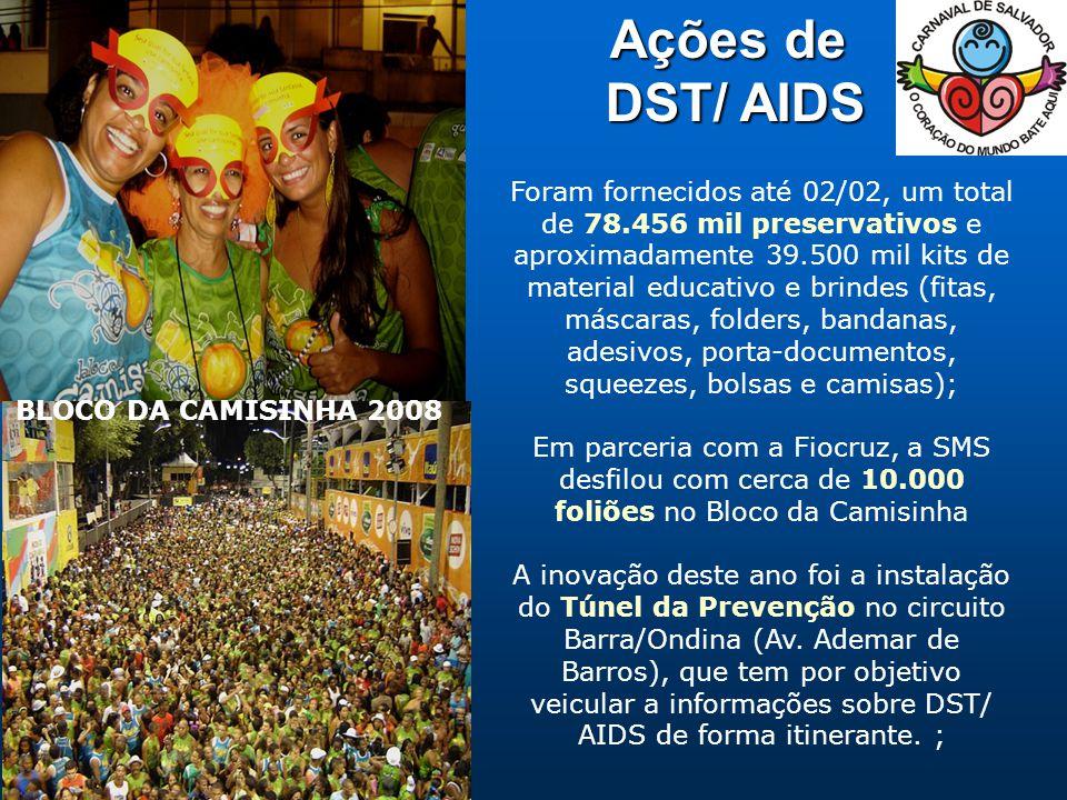 Ações de DST/ AIDS DST/ AIDS BLOCO DA CAMISINHA 2008 Foram fornecidos até 02/02, um total de 78.456 mil preservativos e aproximadamente 39.500 mil kits de material educativo e brindes (fitas, máscaras, folders, bandanas, adesivos, porta-documentos, squeezes, bolsas e camisas); Em parceria com a Fiocruz, a SMS desfilou com cerca de 10.000 foliões no Bloco da Camisinha A inovação deste ano foi a instalação do Túnel da Prevenção no circuito Barra/Ondina (Av.