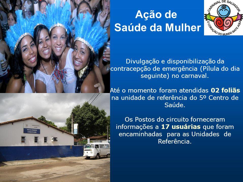 Divulgação e disponibilização da contracepção de emergência (Pílula do dia seguinte) no carnaval.