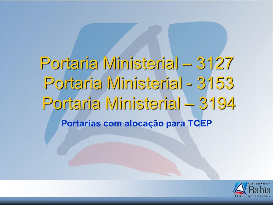 Portaria Ministerial – 3127 Portaria Ministerial - 3153 Portaria Ministerial – 3194 Portarias com alocação para TCEP