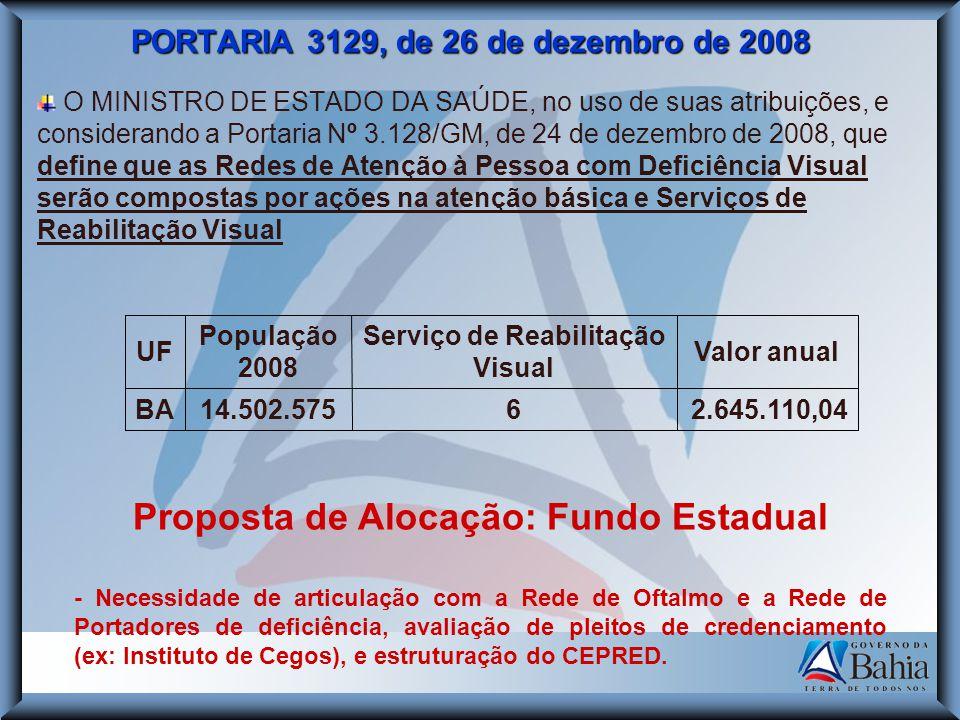 PORTARIA 3129, de 26 de dezembro de 2008 O MINISTRO DE ESTADO DA SAÚDE, no uso de suas atribuições, e considerando a Portaria Nº 3.128/GM, de 24 de de