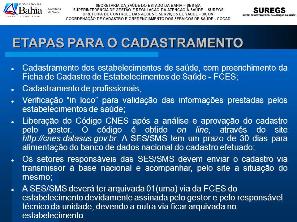 SECRETARIA DA SAÚDE DO ESTADO DA BAHIA – SES-BA SUPERINTEDÊNCIA DE GESTÃO E REGULAÇÃO DA ATENÇÃO À SAÚDE – SUREGS DIRETORIA DE CONTROLE DAS AÇÕES E SERVIÇOS DE SAÚDE - DICON COORDENAÇÃO DE CADASTRO E CREDENCIAMENTO DOS SERVIÇOS DE SAÚDE - COCAD FLUXO DE ATUALIZAÇÃO DA BASE DO CNES Municípios Sob Gestão Estadual Unidade Gestão Dupla CONFERE DOCUMENTAÇÃO INFORMAÇÃO DOS MUNICÍPIOS NÃO PLENOS E GESTÃO ESTADUAL SCNES SCNES Unidade Gestão Municipal E-MAIL OU MEIO MAGNÉTICO SESABSESAB DATASUSDATASUS Municípios Com Pacto de Gestão TABWIN SITE CNES SITE CNES