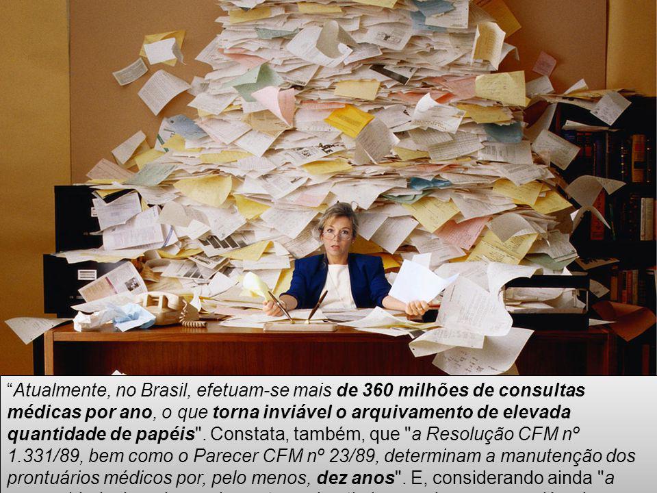 Atualmente, no Brasil, efetuam-se mais de 360 milhões de consultas médicas por ano, o que torna inviável o arquivamento de elevada quantidade de papéi