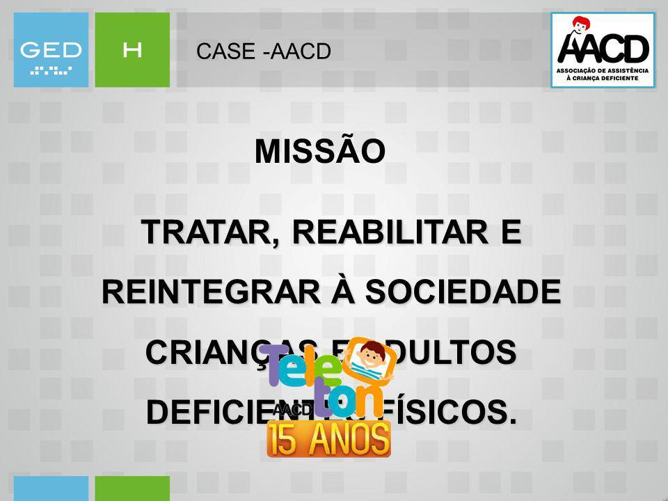 CASE -AACD TRATAR, REABILITAR E REINTEGRAR À SOCIEDADE CRIANÇAS E ADULTOS DEFICIENTES FÍSICOS. MISSÃO