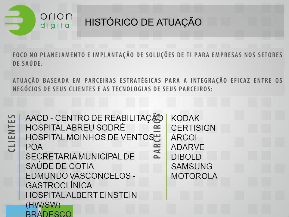 HISTÓRICO DE ATUAÇÃO AACD - CENTRO DE REABILITAÇÃO HOSPITAL ABREU SODRÉ HOSPITAL MOINHOS DE VENTOS - POA SECRETARIA MUNICIPAL DE SAÚDE DE COTIA EDMUND
