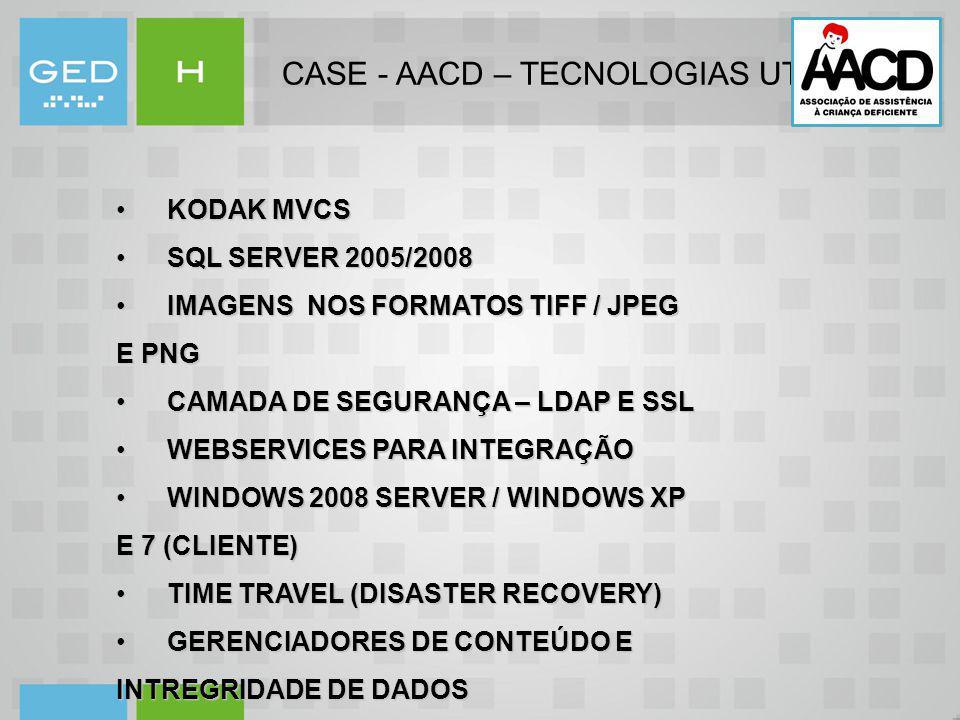 CASE - AACD – TECNOLOGIAS UTILIZADAS KODAK MVCS KODAK MVCS SQL SERVER 2005/2008 SQL SERVER 2005/2008 IMAGENS NOS FORMATOS TIFF / JPEG E PNG IMAGENS NO