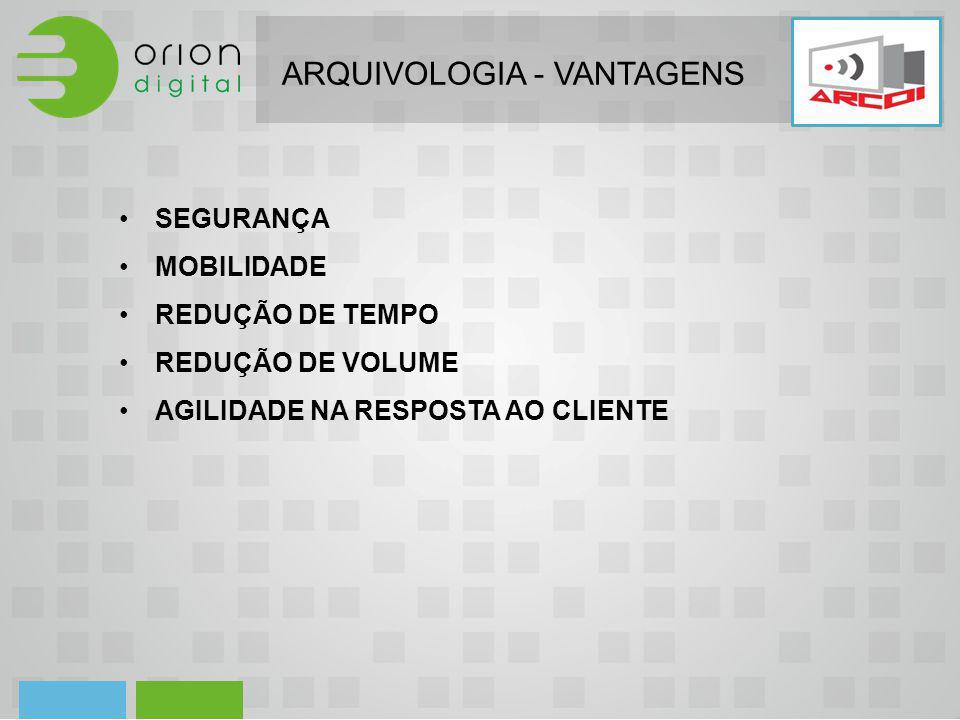 ARQUIVOLOGIA - VANTAGENS SEGURANÇA MOBILIDADE REDUÇÃO DE TEMPO REDUÇÃO DE VOLUME AGILIDADE NA RESPOSTA AO CLIENTE