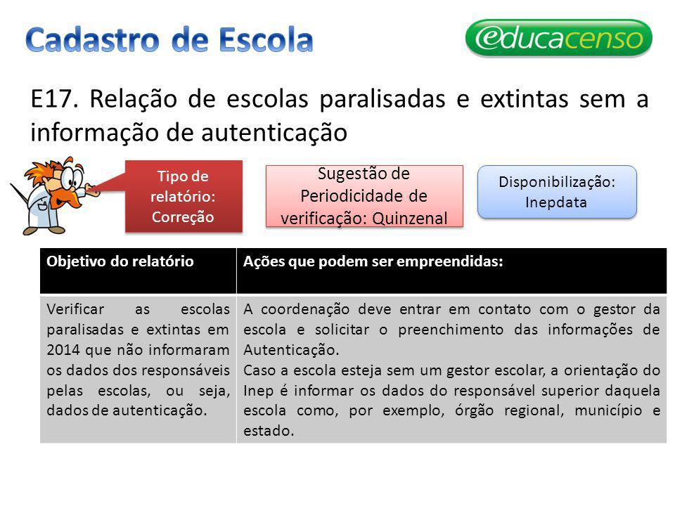 E17. Relação de escolas paralisadas e extintas sem a informação de autenticação Objetivo do relatórioAções que podem ser empreendidas: Verificar as es