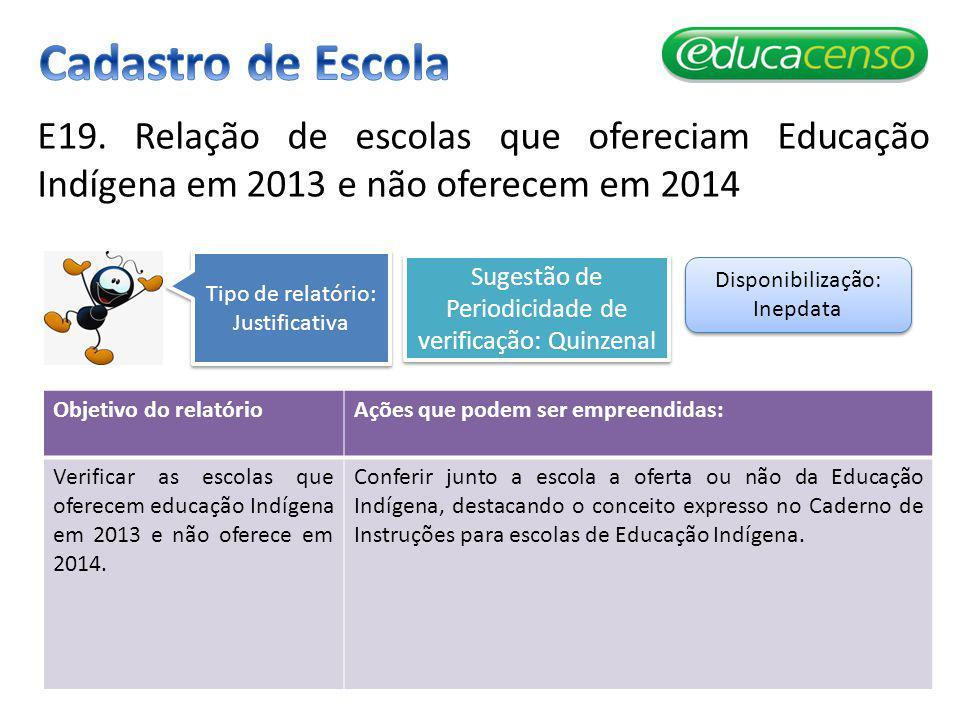 E19. Relação de escolas que ofereciam Educação Indígena em 2013 e não oferecem em 2014 Objetivo do relatórioAções que podem ser empreendidas: Verifica