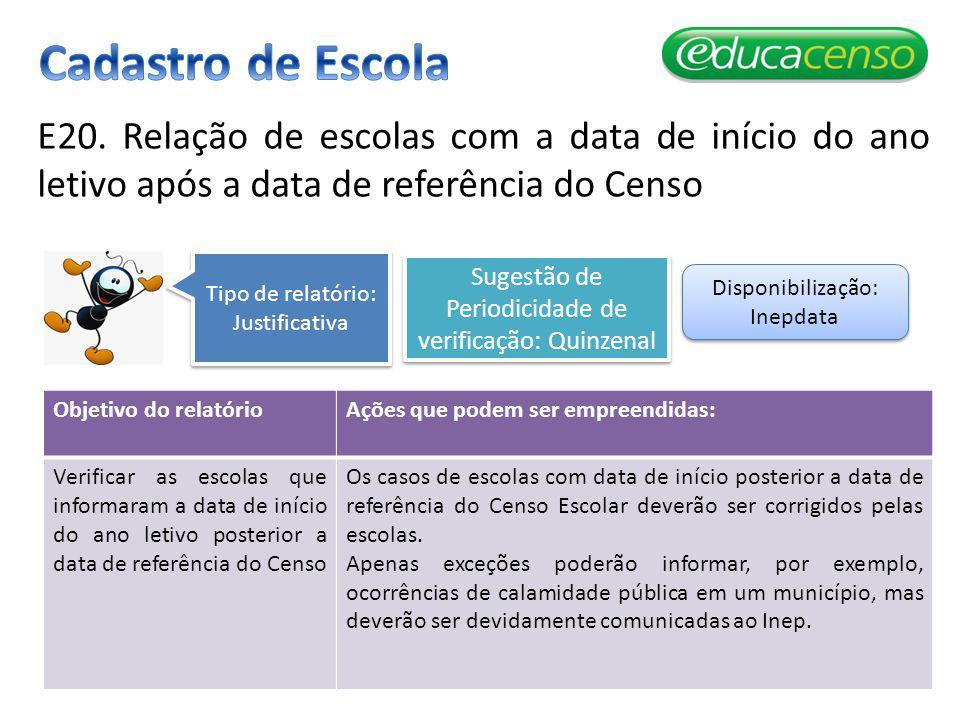 E20. Relação de escolas com a data de início do ano letivo após a data de referência do Censo Objetivo do relatórioAções que podem ser empreendidas: V