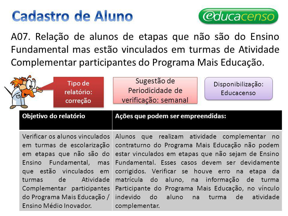 A07. Relação de alunos de etapas que não são do Ensino Fundamental mas estão vinculados em turmas de Atividade Complementar participantes do Programa