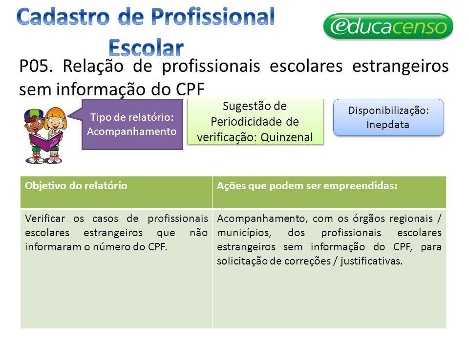 P05. Relação de profissionais escolares estrangeiros sem informação do CPF Objetivo do relatórioAções que podem ser empreendidas: Verificar os casos d
