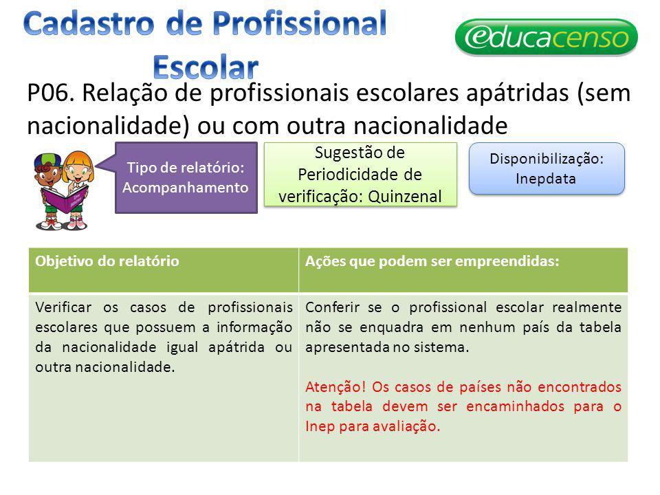 P06. Relação de profissionais escolares apátridas (sem nacionalidade) ou com outra nacionalidade Objetivo do relatórioAções que podem ser empreendidas