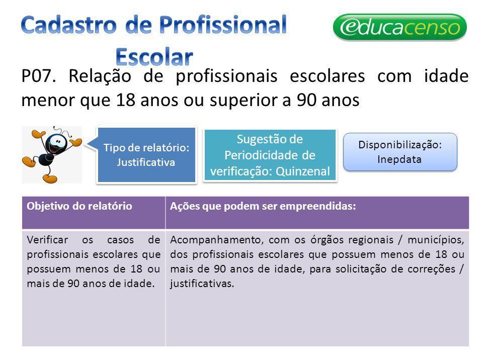 P07. Relação de profissionais escolares com idade menor que 18 anos ou superior a 90 anos Objetivo do relatórioAções que podem ser empreendidas: Verif