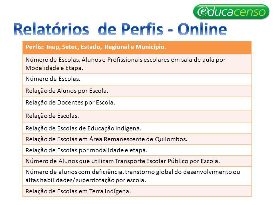 Perfis: Inep, Setec, Estado, Regional e Município.