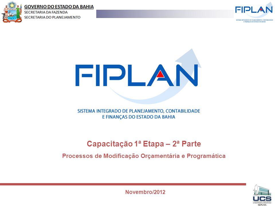 Capacitação 1ª Etapa – 2ª Parte Processos de Modificação Orçamentária e Programática Novembro/2012
