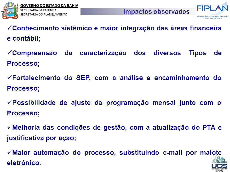 Conhecimento sistêmico e maior integração das áreas financeira e contábil; Compreensão da caracterização dos diversos Tipos de Processo; Fortaleciment