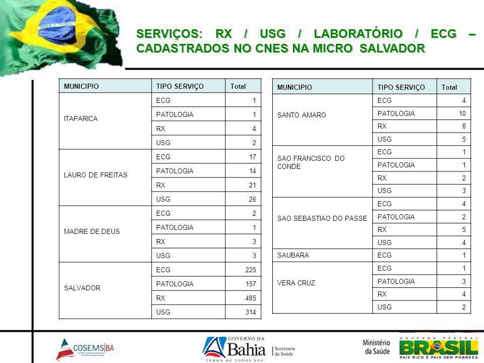SERVIÇOS: RX / USG / LABORATÓRIO / ECG – CADASTRADOS NO CNES NA MICRO SALVADOR MUNICIPIOTIPO SERVIÇOTotal ITAPARICA ECG1 PATOLOGIA1 RX4 USG2 LAURO DE