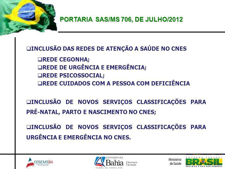 PORTARIA SAS/MS 706, DE JULHO/2012 INCLUSÃO DAS REDES DE ATENÇÃO A SAÚDE NO CNES REDE CEGONHA; REDE DE URGÊNCIA E EMERGÊNCIA; REDE PSICOSSOCIAL; REDE CUIDADOS COM A PESSOA COM DEFICIÊNCIA INCLUSÃO DE NOVOS SERVIÇOS CLASSIFICAÇÕES PARA PRÉ-NATAL, PARTO E NASCIMENTO NO CNES; INCLUSÃO DE NOVOS SERVIÇOS CLASSIFICAÇÕES PARA URGÊNCIA E EMERGÊNCIA NO CNES.