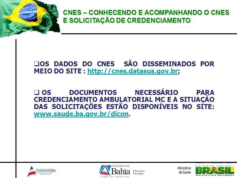 CNES – CONHECENDO E ACOMPANHANDO O CNES E SOLICITAÇÃO DE CREDENCIAMENTO OS DADOS DO CNES SÃO DISSEMINADOS POR MEIO DO SITE : http://cnes.datasus.gov.b