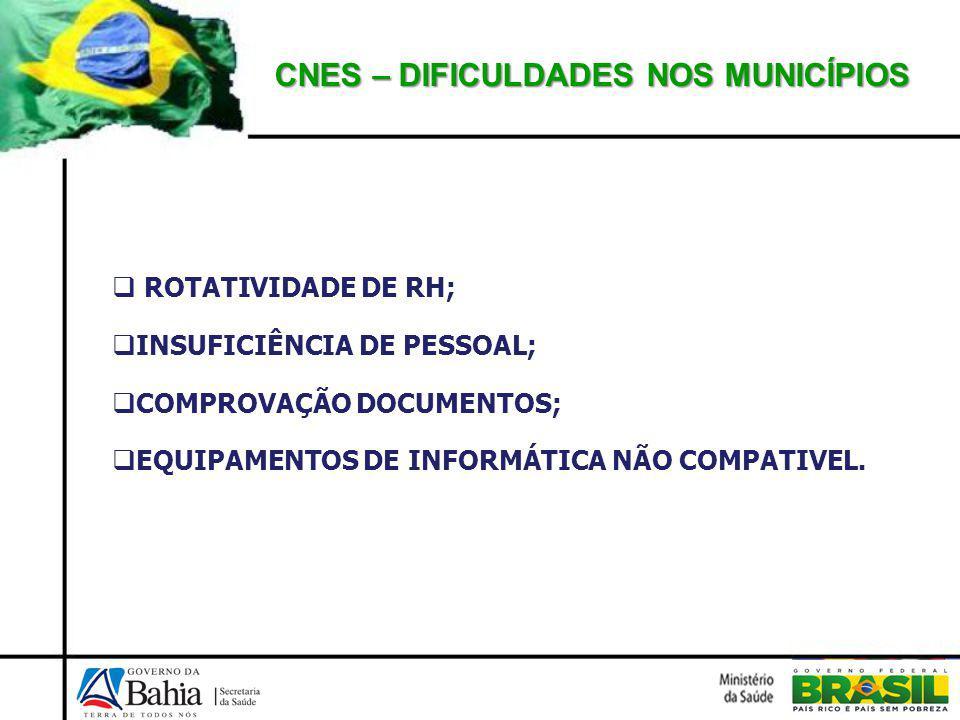 CNES – DIFICULDADES NOS MUNICÍPIOS ROTATIVIDADE DE RH; INSUFICIÊNCIA DE PESSOAL; COMPROVAÇÃO DOCUMENTOS; EQUIPAMENTOS DE INFORMÁTICA NÃO COMPATIVEL.