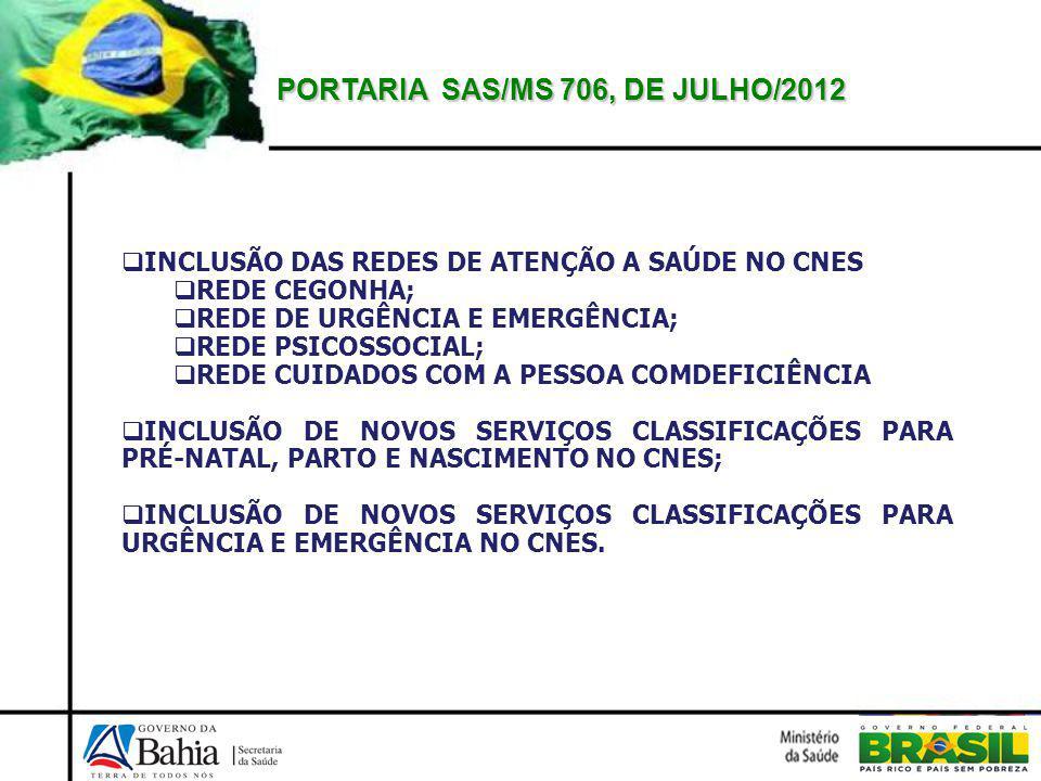 PORTARIA SAS/MS 706, DE JULHO/2012 INCLUSÃO DAS REDES DE ATENÇÃO A SAÚDE NO CNES REDE CEGONHA; REDE DE URGÊNCIA E EMERGÊNCIA; REDE PSICOSSOCIAL; REDE CUIDADOS COM A PESSOA COMDEFICIÊNCIA INCLUSÃO DE NOVOS SERVIÇOS CLASSIFICAÇÕES PARA PRÉ-NATAL, PARTO E NASCIMENTO NO CNES; INCLUSÃO DE NOVOS SERVIÇOS CLASSIFICAÇÕES PARA URGÊNCIA E EMERGÊNCIA NO CNES.