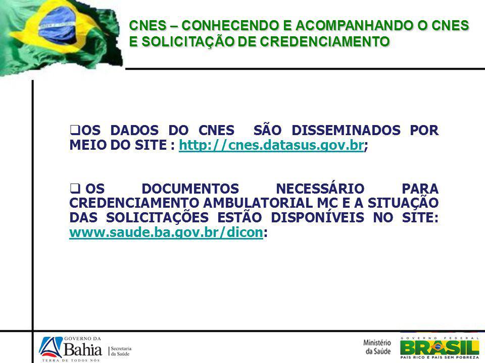 CNES – CONHECENDO E ACOMPANHANDO O CNES E SOLICITAÇÃO DE CREDENCIAMENTO OS DADOS DO CNES SÃO DISSEMINADOS POR MEIO DO SITE : http://cnes.datasus.gov.br;http://cnes.datasus.gov.br OS DOCUMENTOS NECESSÁRIO PARA CREDENCIAMENTO AMBULATORIAL MC E A SITUAÇÃO DAS SOLICITAÇÕES ESTÃO DISPONÍVEIS NO SITE: www.saude.ba.gov.br/dicon: www.saude.ba.gov.br/dicon