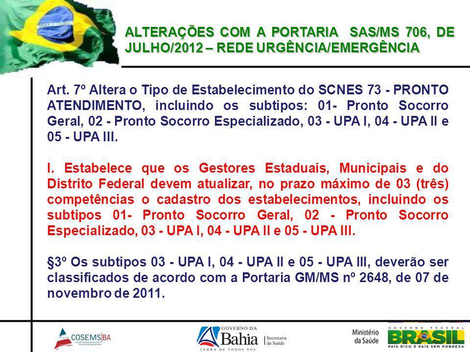 Art. 7º Altera o Tipo de Estabelecimento do SCNES 73 - PRONTO ATENDIMENTO, incluindo os subtipos: 01- Pronto Socorro Geral, 02 - Pronto Socorro Especi
