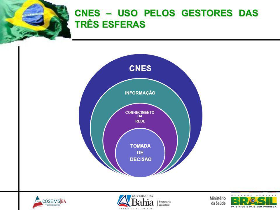 CNES – USO PELOS GESTORES DAS TRÊS ESFERAS CNES INFORMAÇÃO CONHECIMENTO DA REDE TOMADA DE DECISÃO