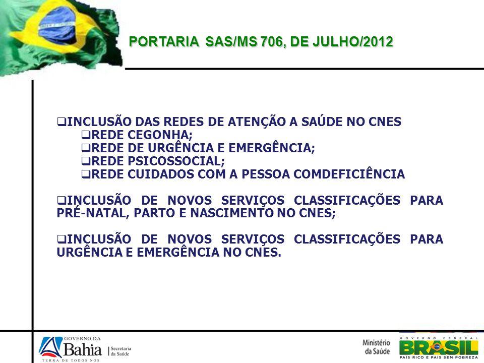 PORTARIA SAS/MS 706, DE JULHO/2012 INCLUSÃO DAS REDES DE ATENÇÃO A SAÚDE NO CNES REDE CEGONHA; REDE DE URGÊNCIA E EMERGÊNCIA; REDE PSICOSSOCIAL; REDE