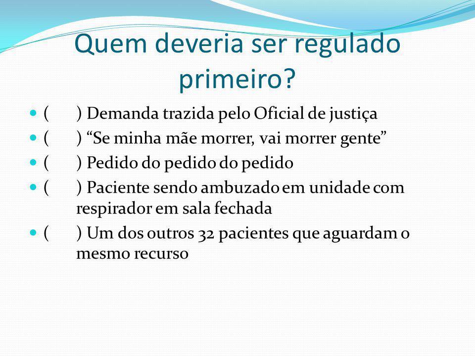 Quem deveria ser regulado primeiro? () Demanda trazida pelo Oficial de justiça () Se minha mãe morrer, vai morrer gente () Pedido do pedido do pedido