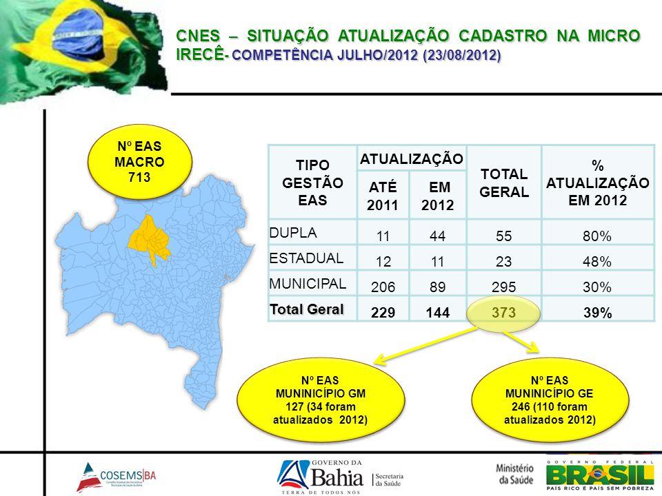 CNES – SITUAÇÃO ATUALIZAÇÃO CADASTRO NA MICRO IRECÊ - COMPETÊNCIA JULHO/2012 (23/08/2012) TIPO GESTÃO EAS ATUALIZAÇÃO TOTAL GERAL % ATUALIZAÇÃO EM 201