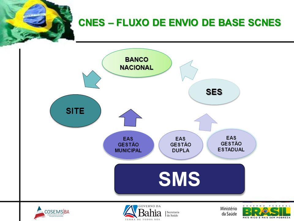 CNES – FLUXO DE ENVIO DE BASE SCNES SMS EAS GESTÃO DUPLA EAS GESTÃO MUNICIPAL EAS GESTÃO ESTADUAL SESSES BANCO NACIONAL SITE