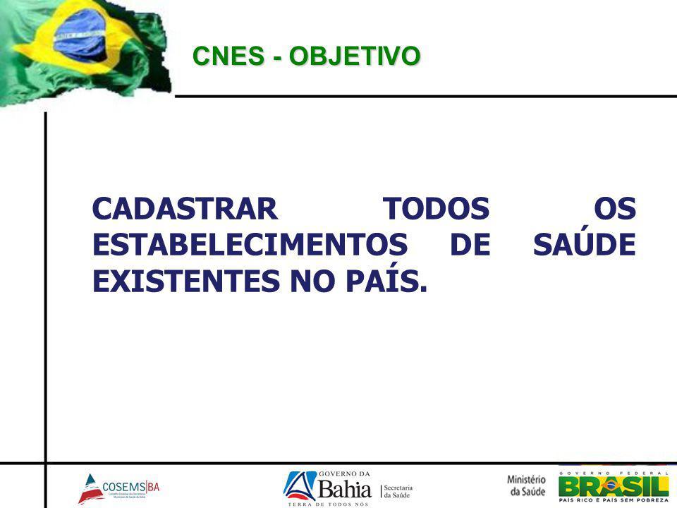 CNES - OBJETIVO CADASTRAR TODOS OS ESTABELECIMENTOS DE SAÚDE EXISTENTES NO PAÍS.