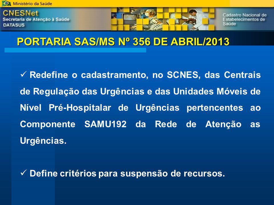 PORTARIA SAS/MS Nº 356 DE ABRIL/2013 Redefine o cadastramento, no SCNES, das Centrais de Regulação das Urgências e das Unidades Móveis de Nível Pré-Hospitalar de Urgências pertencentes ao Componente SAMU192 da Rede de Atenção as Urgências.
