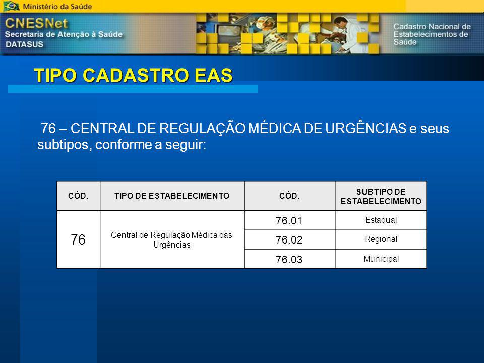 CADASTRO DA CENTRAL A CENTRAL DE REGULAÇÃO MÉDICA DE URGÊNCIAS TIPO 76 deverão incluir no MÓDULO BÁSICO, na aba vertical Bases descentralizadas, todas as bases descentralizadas vinculadas à CENTRAL DE REGULAÇÃO MÉDICA DE URGÊNCIAS O Art.