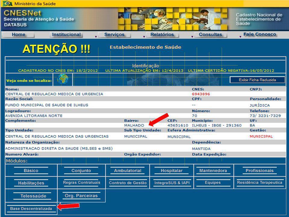 CENTRAIS MUNICIPAIS ATENÇÃO !!!
